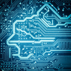 blue circuit board texture closeup