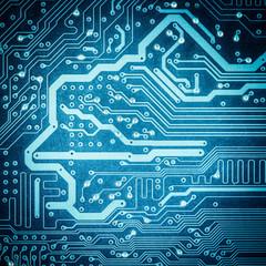 blue circuit board texture closeup