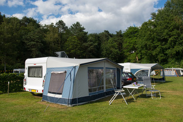 Caravan and shelter at the camping