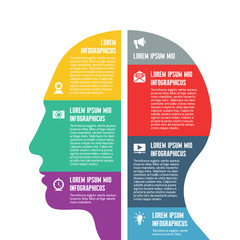 Infographic Business Concept - Vector Human Head