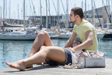 Couple sitting on berth