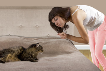 cute Maine Coon cat is on a teenage girl's bed