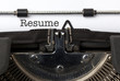 Resume, written on vintage typewriter