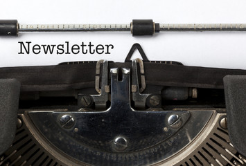 Newsletter written on vintage typewriter