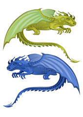 Sitting dragonl. Set of two green and blue