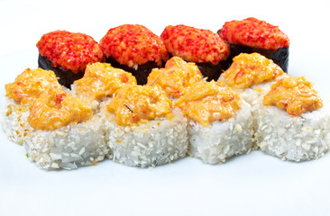 spice sushi with sauced slices