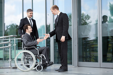 Disabled businessman
