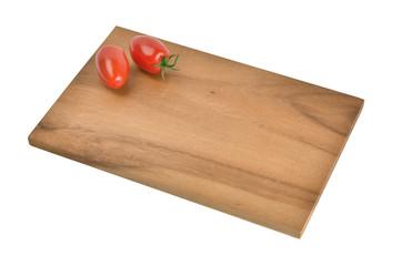 Frühstücksbrett aus Holz mit Deko auf weiss