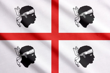 Official flag of Sardinia waving