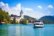 Leinwandbild Motiv Water bus crossing Wolfgangsee