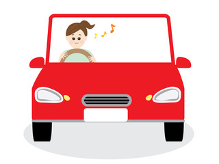 A woman driving happily