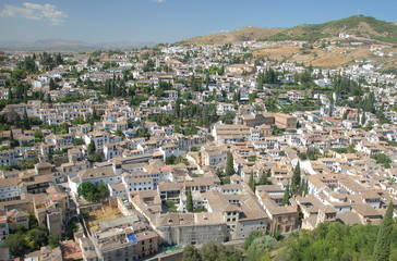 The oldest neighborhood of Granada from Alhambra, Andalusia