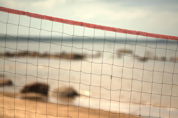 volleyball net on the beach close-up.