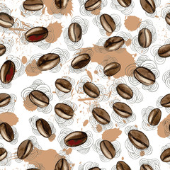 Vector seamless pattern of hand drawn watercolor coffee beans