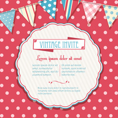 invite and bunting background circular