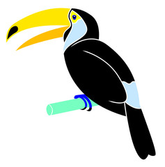 Cartoon animal - toucan - flat coloring style