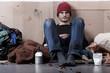 Homeless man living on the street