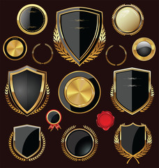 Golden Shields, labels and laurels, black edition