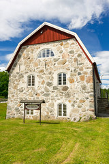 Traditional Swedish museum house build with stones