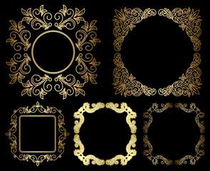 gold floral vintage frames - vector set