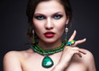 canvas print picture - Beautiful young woman in necklace