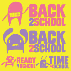 Back to School Cute Monster Label Set