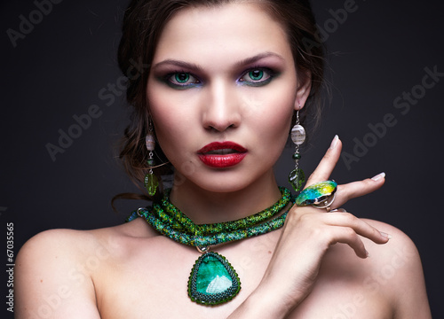 canvas print picture Beautiful young woman in necklace