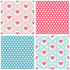 Heart seamless patterns