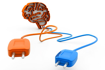 human brain with plug and cable