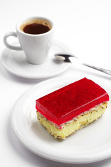 Strawberry cake and coffee