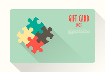 Flat Gift Card with puzzles