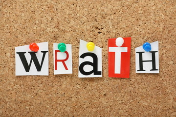 The word Wrath on a cork notice board