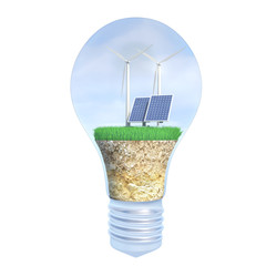 solar panel and wind energy within the bulb