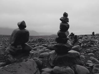 Black stones in balance