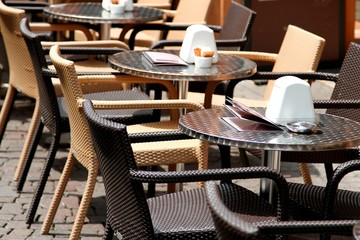 tables and chairs for an outdoor Cafe in a European metropolis