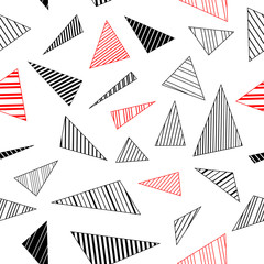 Geometric striped triangles seamless pattern in black white