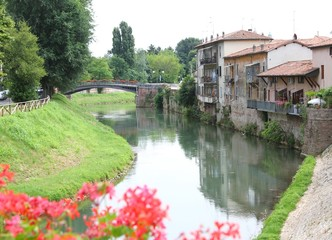 Bacchiglione River which crosses the Santa Croce district Italy