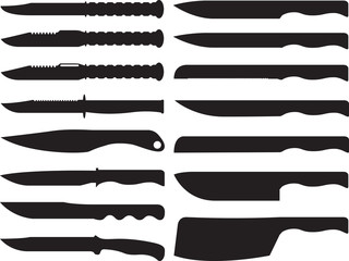 Knives collection illustrated on white
