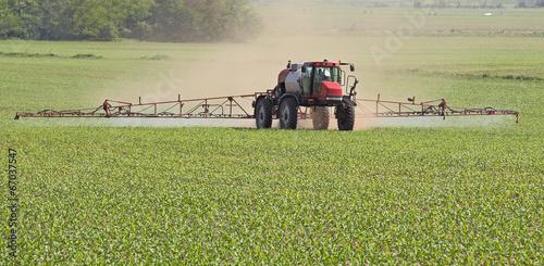 Leinwanddruck Bild Spraying a Corn Field
