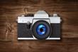 retro camera on wood