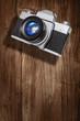 retro camera wood backdrop