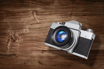 slr camera wood backdrop