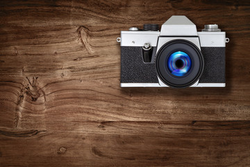 film camera on wood