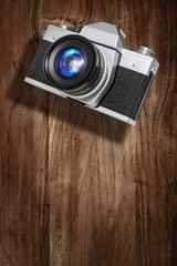 retro camera wood backdrop