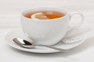 Tea With Lemon Slice In White Cup