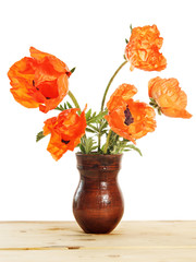 Red poppy flowers in a jag isolated over white background