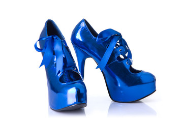 Pair of elegant blue female shoes