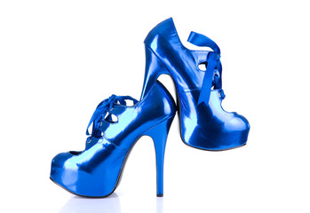 High heels metallic blue female shoes