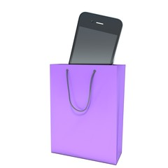 buying a mobile phone in the store. shopping bag