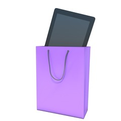 buying a tablet pc in the store. shopping bag
